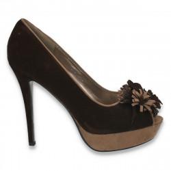 Pantofi imitatie velur, cu platforma si toc inalt, maro - LS282