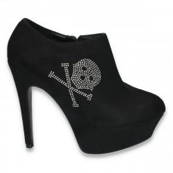 Pantofi dama inalti, cu aplicatii de strasuri, negri - LS283