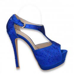 Sandale fashion din satin, cu platforma si strasuri, albastre - LS284