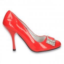 Pantofi dama eleganti din piele ecologica lacuita, rosii - LS288