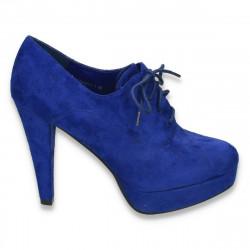 Pantofi femei cu siret, platforma si toc inalt, albastri - LS290