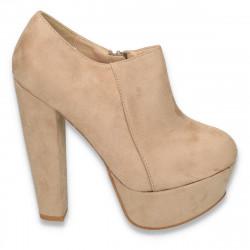 Pantofi dama cu toc foarte gros si inalt, bej - LS291