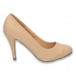 Pantofi model clasic, din imitatie velur, camel - LS293