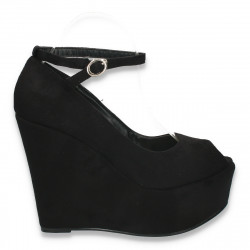 Pantofi glami dama, cu bareta si platforma foarte inalta, negri - LS294