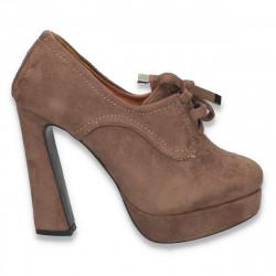 Pantofi femei cu siret, platforma si toc inalt, masiv, taupe - LS295