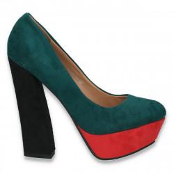 Pantofi in 3 culori, cu toc masiv, pentru femei - LS296