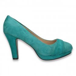 Pantofi model clasic, cu platforma, din imitatie velur, verzi - LS299