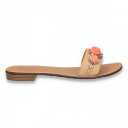 Papuci dama cu flori si strasuri, bej - LS302