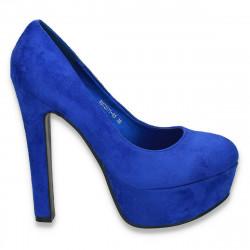 Pantofi imitatie velur, cu toc masiv si platforma, albastri - LS305