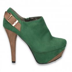 Pantofi dama inalti, din imitatie velur, verde-camel - LS306