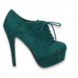 Pantofi femei cu siret, platforma si toc inalt, verzi - LS310