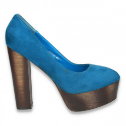 Pantofi dama cu platforma si toc foarte gros si inalt, turcoaz - LS312