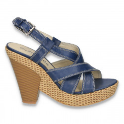 Sandale dama, cu platforma inalta, bleumarin - LS321