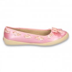 Balerini fashion cu fundita, roz sidefat - LS323