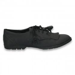Pantofi casual dama, cu sireturi cu franjuri, negri - LS324