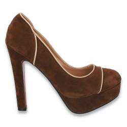 Pantofi imitatie velur, cu toc masiv si platforma, maro - LS325
