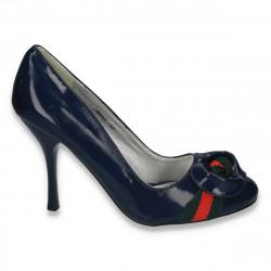 Pantofi eleganti din piele ecologica lacuita, bleumarin, pentru femei  - LS329
