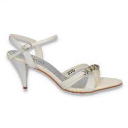 Sandale dama cu toc mic, albe - LS334