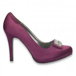 Pantofi eleganti, din satin, cu toc inalt si strasuri mari, mov - LS336