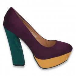 Pantofi in 3 culori, cu toc masiv, pentru femei - LS340