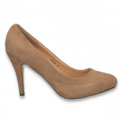 Pantofi model clasic, din imitatie velur, taupe - LS344