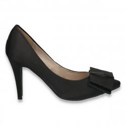 Pantofi eleganti, din satin, cu fundita, negri - LS345