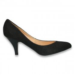 Pantofi eleganti, din material textil, cu sclipici, negri - LS352