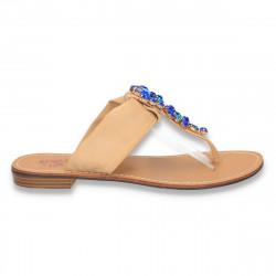 Papuci dama infradito, cu strasuri albastre, camel - LS357