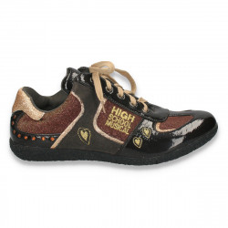 Pantofi casual fete, din piele eco lacuita si material textil, maro - LS360