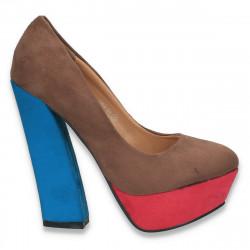 Pantofi in 3 culori, cu toc masiv, pentru femei - LS363