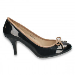 Pantofi dama din lac, cu toc mic - LS369