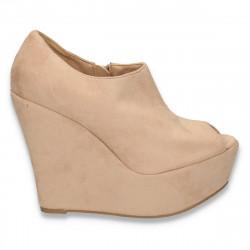 Pantofi glami dama, cu platforma foarte inalta, camel - LS370