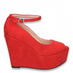 Pantofi glami dama, cu bareta si platforma foarte inalta, rosii - LS371