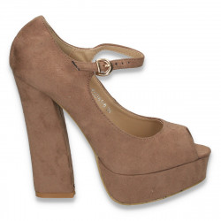 Pantofi glami dama, cu bareta si toc gros, taupe - LS372