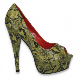 Pantofi glami dama cu animal print si toc inalt, verzi - LS373