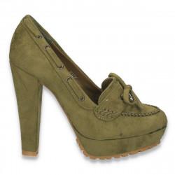 Pantofi femei, verzi, cu insertii de elemente stil Oxford - LS382