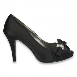 Pantofi eleganti, din satin, cu fundita si varf decupat, negri - LS384