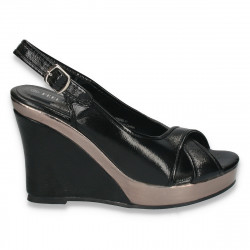 Sandale dama din lac, cu platforma inalta, negre - LS385