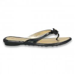 Papuci dama infradito, din lac, negri - LS387
