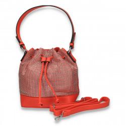 Geanta glami, tip saculet, cu strasuri, portocaliu - M200