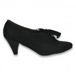 Pantofi dama cu siret si toc mic, negri - LS401