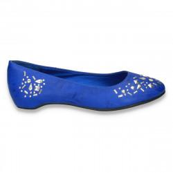 Balerini dama, cu aplicatii metalice, albastri - LS402