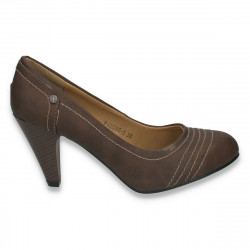 Pantofi clasici dama, cu toc mic, maro - LS405