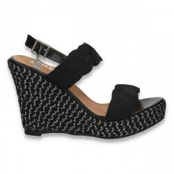 Sandale dama cu platforma, din material textil, negre - W72