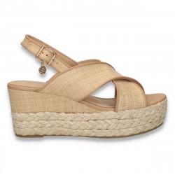 Sandale dama cu platforma, din material textil, bej - W73