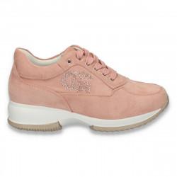 Sneakers dama, casual, imitatie velur, roz - W74