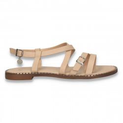 Sandale dama casual, in stil roman, cu talpa joasa, bej  - W76