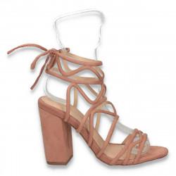 Sandale dama elegante, cu barete si toc gros, roz - W77