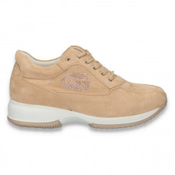 Sneakers dama, casual, imitatie velur, bej - W78