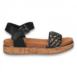 Sandale dama casual, cu platforma inalta din pluta, negre - W79